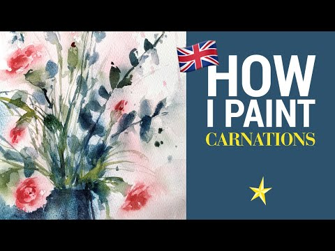 Carnations in watercolor - ENGLISH VERSION