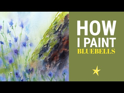 Painting bluebells in watercolor