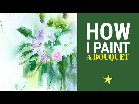 Painting a bouquet of flowers in watercolor