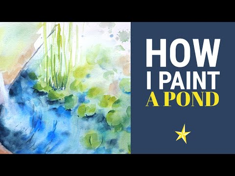Painting a pond with waterlilies in watercolor