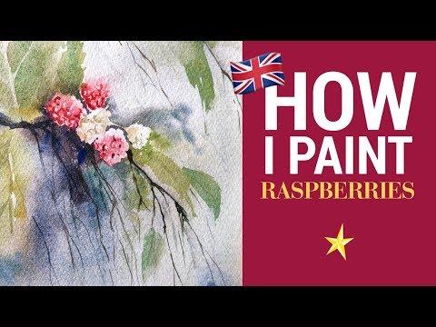 Raspberries in watercolor - ENGLISH VERSION