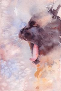 Aquarelle de chat entrain de bâiller