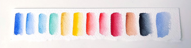 Échantillons des couleurs contenues dans ma palette mijello